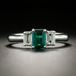 Estate .55 Carat Emerald and Diamond Three-Stone Ring - 2
