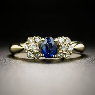 Estate .55 Carat Sapphire and Diamond Bow Ring  - 2