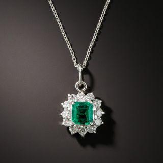Estate .58 Carat Emerald and Diamond Pendant - 2