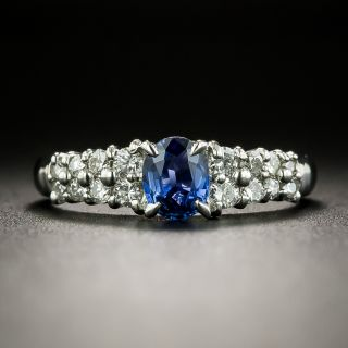 Estate .58 Carat Oval Sapphire and Diamond Ring - 2