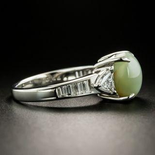 Estate 6.28 Carat Cat's-Eye Chrysoberyl and Diamond Ring
