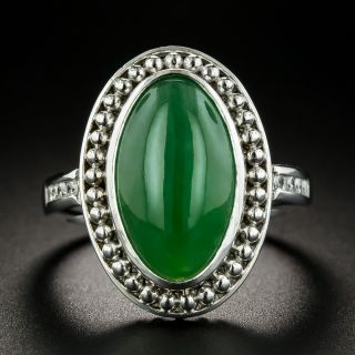 Estate 6.67 Carat Burmese Jadeite and Diamond Ring - 1