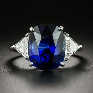 Estate 6.77 Carat Royal Blue Ceylon Sapphire and Diamond Ring - 1
