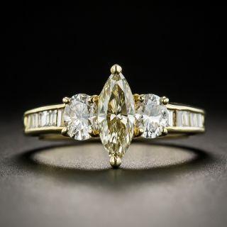 Estate .60 Carat Fancy Light Yellow Marquise Diamond Ring - 2