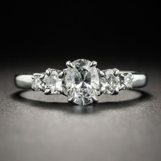 Estate .60 Carat Oval Diamond Platinum Engagement Ring - 1