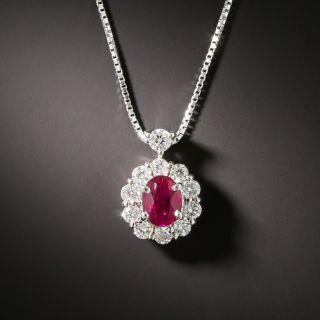 Estate .60 Carat Ruby and Diamond Platinum Pendant - 2
