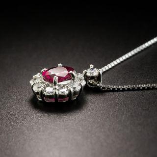 Estate .60 Carat Ruby and Diamond Platinum Pendant