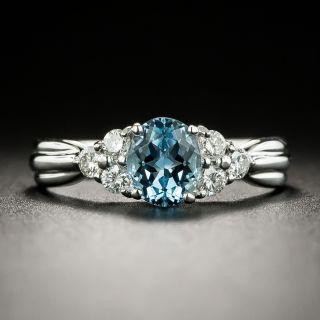 Estate .65 Carat Aquamarine and Diamond Ring - 3