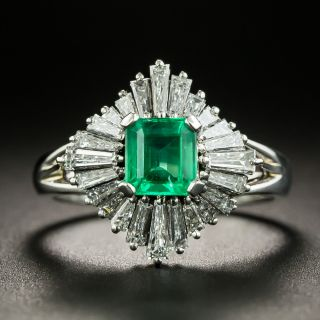Estate .65 Carat Emerald and Diamond Ballerina Ring - 1