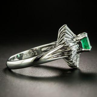 Estate .65 Carat Emerald and Diamond Ballerina Ring