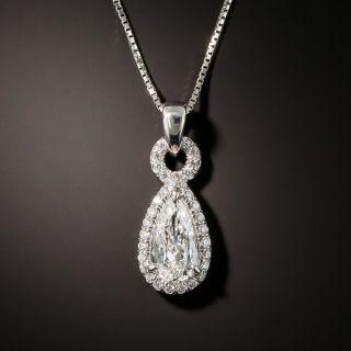 Estate .65 Carat Pear-Shaped Platinum Diamond Drop - 1