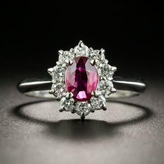 Estate .66 Carat Ruby and Diamond Halo Ring - 1