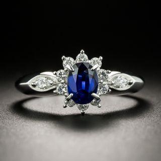 Estate .68 Carat No-Heat Sapphire Platinum Diamond Ring - 3