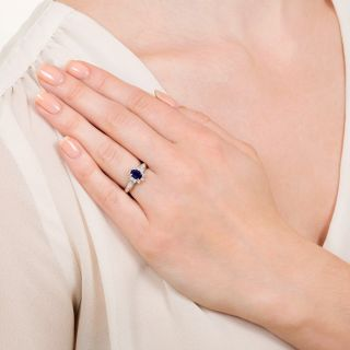 Estate .68 Carat No-Heat Sapphire and Diamond Ring