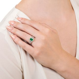 Estate .69 Carat Emerald and Diamond Ring