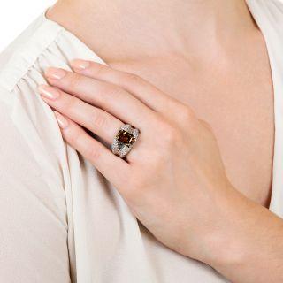 Estate 7.00 Carat Brown Zircon and Diamond Ring