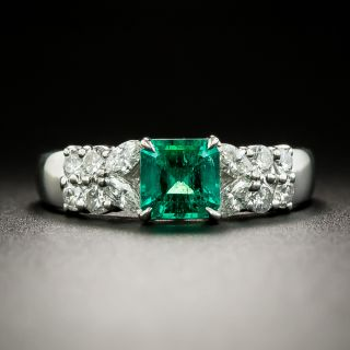 Estate .70 Carat Colombian Emerald and Diamond Ring - 3