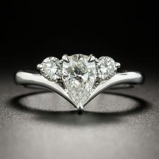 Estate .70 Carat Pear Shaped Diamond Three-Stone Ring - 2