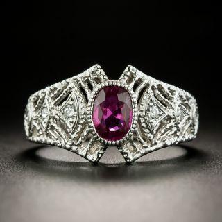 Estate .71 Carat Ruby Filigree Ring - 2