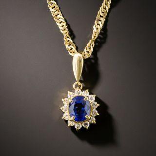 Estate .72 Carat Sapphire and Diamond Halo Necklace - 2