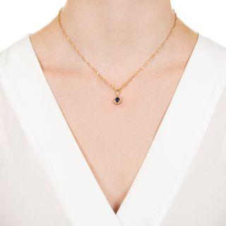 Estate .72 Carat Sapphire and Diamond Halo Necklace