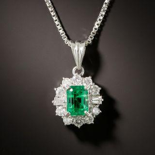 Estate .73 Carat Emerald and Diamond Halo Pendant - 3