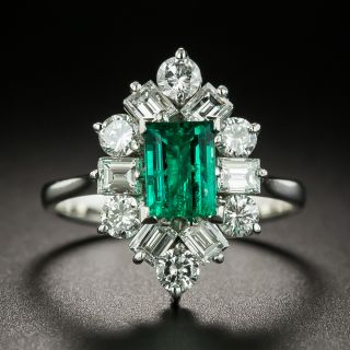 Estate .73 Carat Emerald and Diamond Ring - 1
