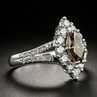 Estate .74 Carat Natural Fancy Brown MarquiseDiamond Platinum Ring