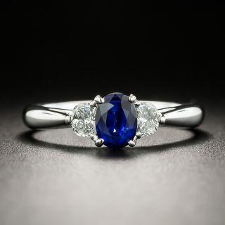 Estate .76 Carat Sapphire and Half-Moon Diamond Ring - 2
