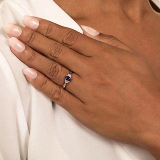Estate .76 Carat Sapphire and Half-Moon Diamond Ring