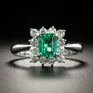 Estate .78 Carat Emerald and Diamond Cluster Ring - 1