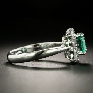 Estate .78 Carat Emerald and Diamond Cluster Ring