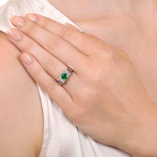 Estate .78 Carat Emerald and Diamond Ring