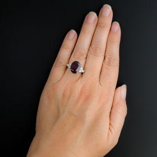Estate 8.01 Carat Rhodolite Garnet and Diamond Ring