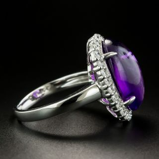 Estate 8.34 Amethyst Oval Cabochon and Diamond Ring