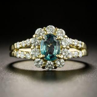 Estate .80 Carat Alexandrite and Diamond Halo Ring  - 2