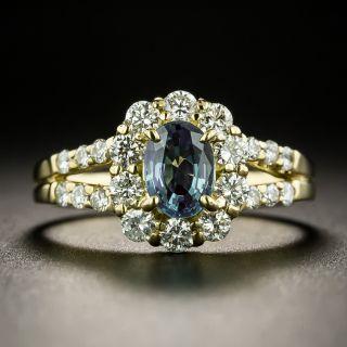 Estate .80 Carat Alexandrite and Diamond Halo Ring
