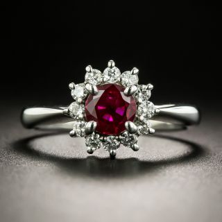 Estate .80 Carat Burmese Ruby and Diamond Ring, GIA - 1