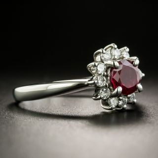 Estate .80 Carat Burmese Ruby and Diamond Ring, GIA