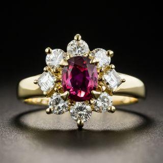 Estate .82 Carat Ruby and Diamond Halo Ring - 1