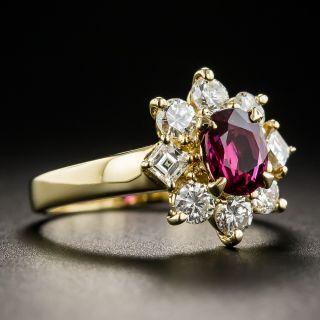 Estate .82 Carat Ruby and Diamond Halo Ring