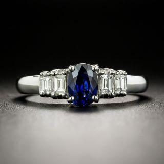 Estate .82 Carat Sapphire and Baguette Diamond Ring - 2