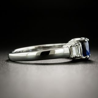 Estate .82 Carat Sapphire and Baguette Diamond Ring