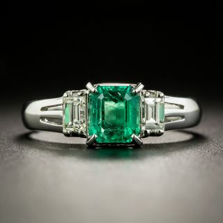 Estate .83 Emerald and Diamond Ring - 2