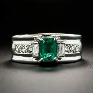 Estate .84 Carat Emerald and Diamond Band Ring - 2