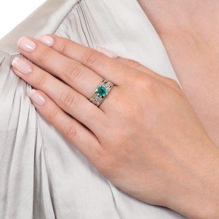 Estate .84 Carat Emerald and Diamond Band Ring