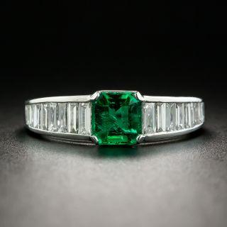 Estate .87 Carat Emerald and Baguette Diamond Ring - 1