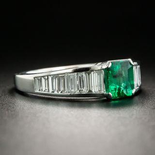 Estate .87 Carat Emerald and Baguette Diamond Ring