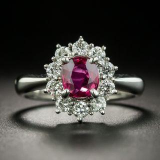 Estate .87 Carat Ruby and Diamond Halo Ring - 1