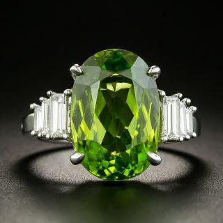 Estate 9.00 Carat Peridot and Baguette Diamond Ring - 2